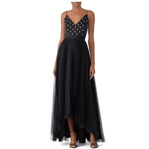 Adrianna Papell Polka Dot Bodice Pleated Maxi Gown